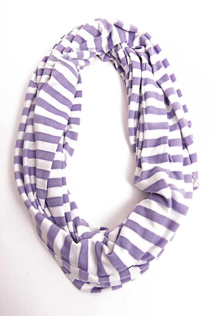 Purple and White Stripe Infinity Scarf