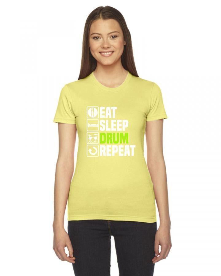 eat sleep drum Ladies Fitted T-Shirt
