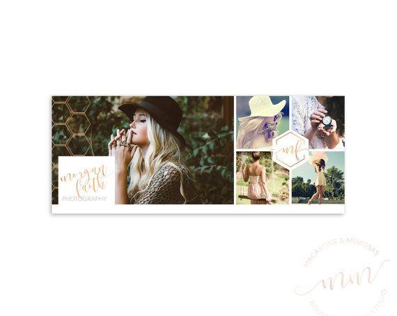Photography Collage Facebook Cover, Rose Gold Social Media Honeycomb, Blog website Header, Branding Marketing Banner