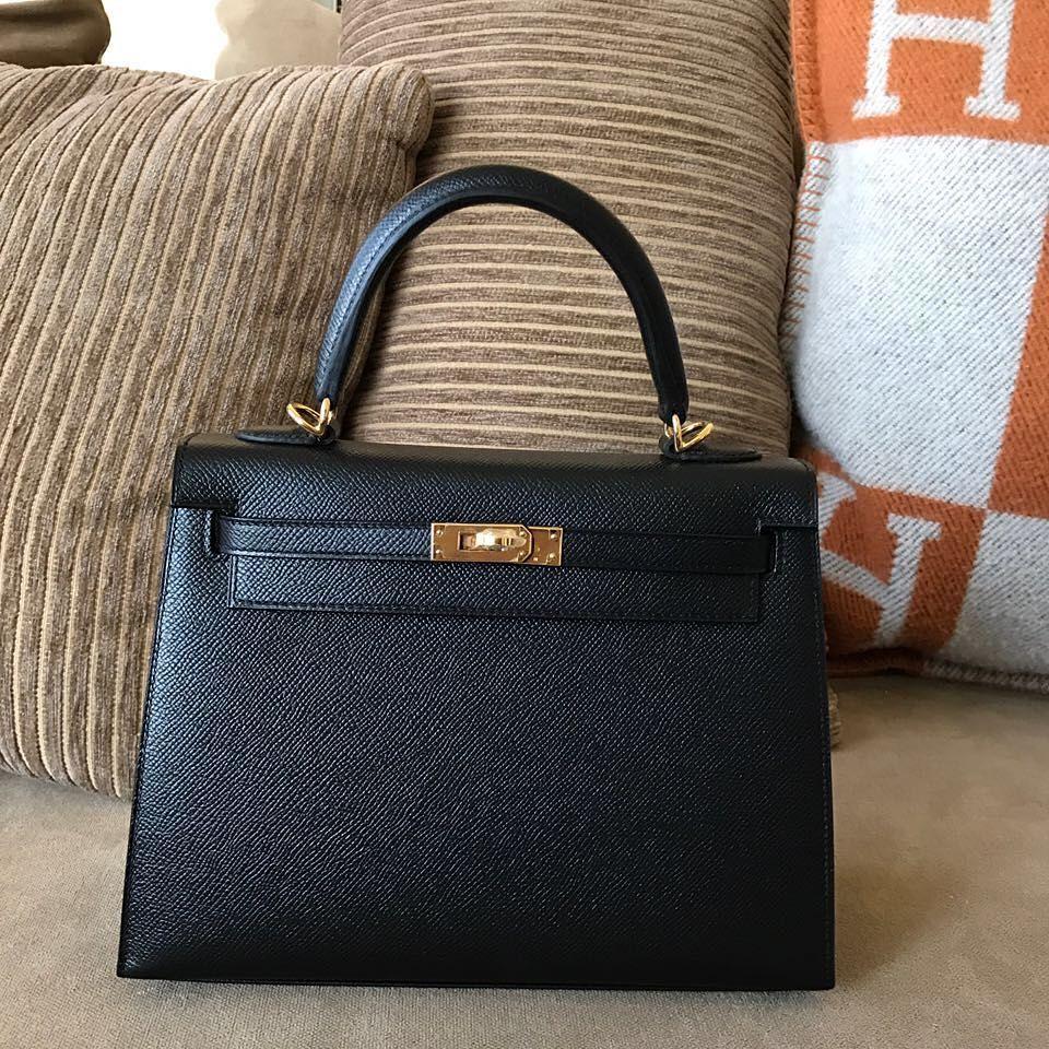 1fcc03161f43 Hermes Kelly28 Black Epsom Sellier Ghw A