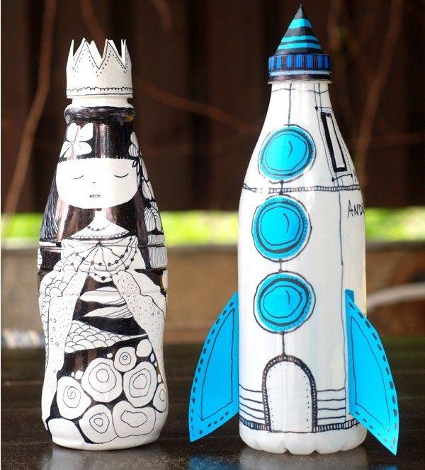 4 Huchas Divertidas Para Niños Pequeocio Botellas Plasticas Artesanías De Botella De Plástico Manualidades Para Niños
