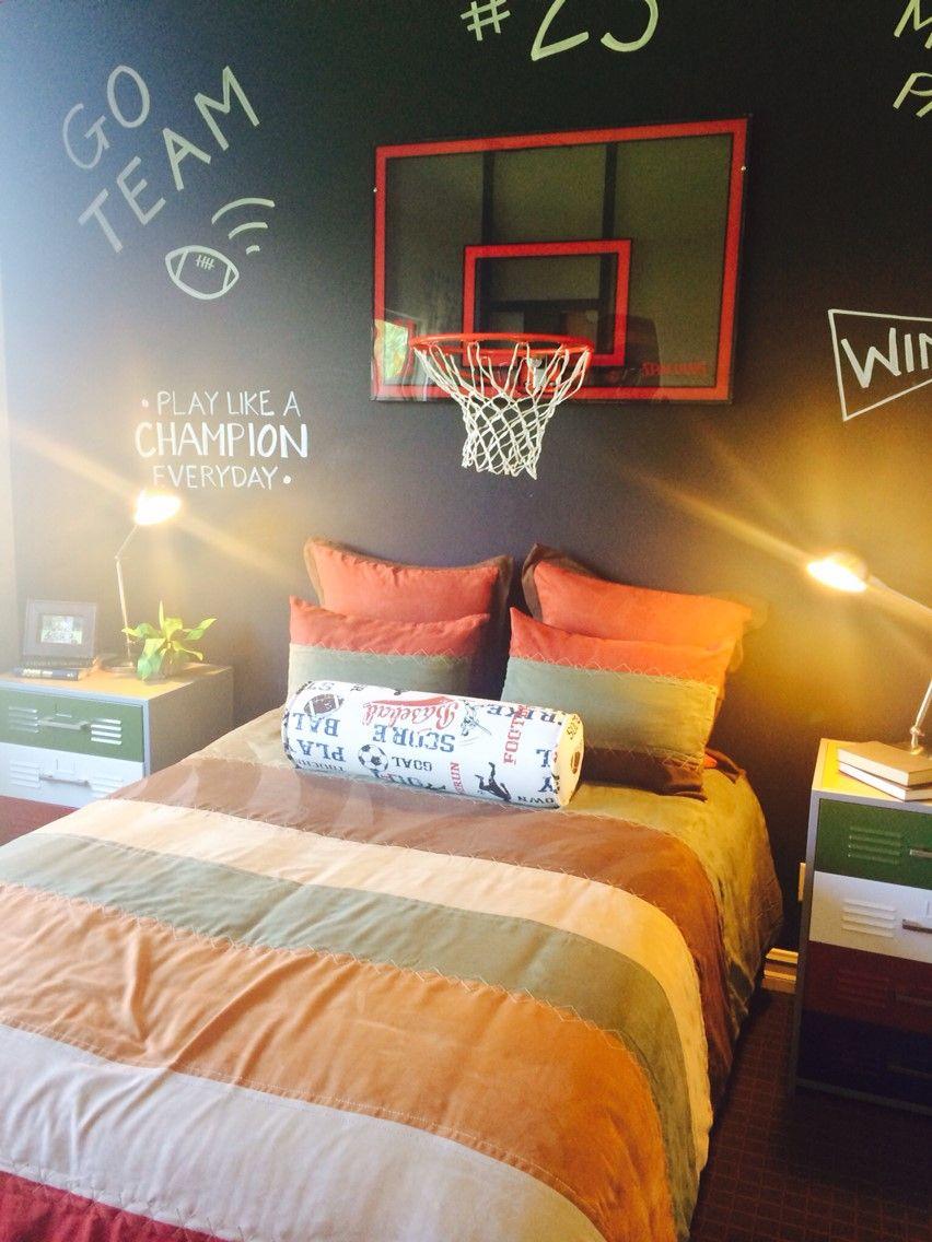 Boys basketball bedroom with chalkboard wall