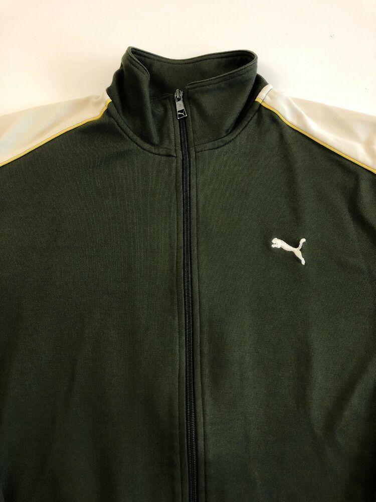 Puma Retro Classic Track Jacket Sz XXL Full Zip Olive Green