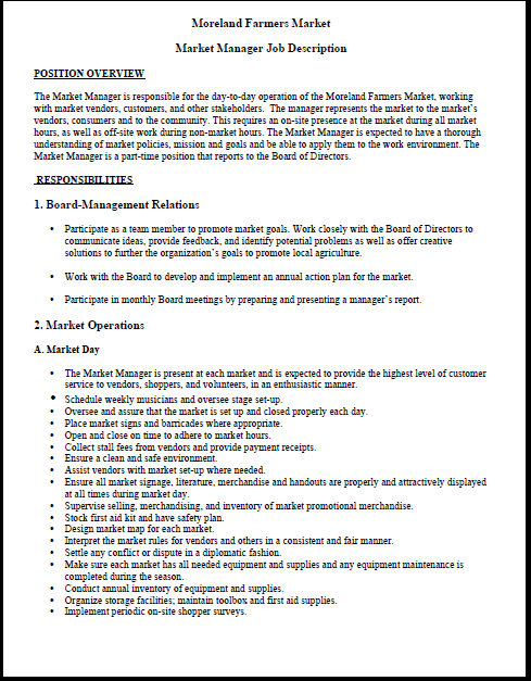 Moreland Farmers Market Market Manager Job Description HttpWww