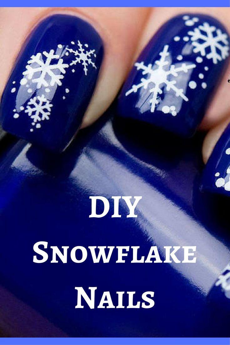 Diy Snowflake Nails Perfect Winter Nail Design Great For Holiday