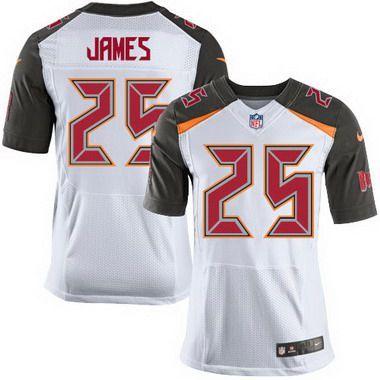 Tampa Bay Buccaneers #25 Mike James White Road NFL Nike Elite Men's Jersey