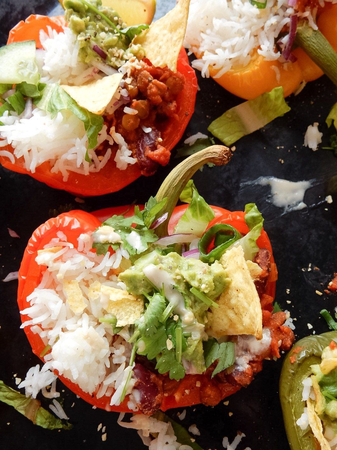 Vegan Mexican Style Stuffed Peppers. Try 'jazzing' up your Mexican 'Rice n Beans' with this oil-free simple easy dinner!