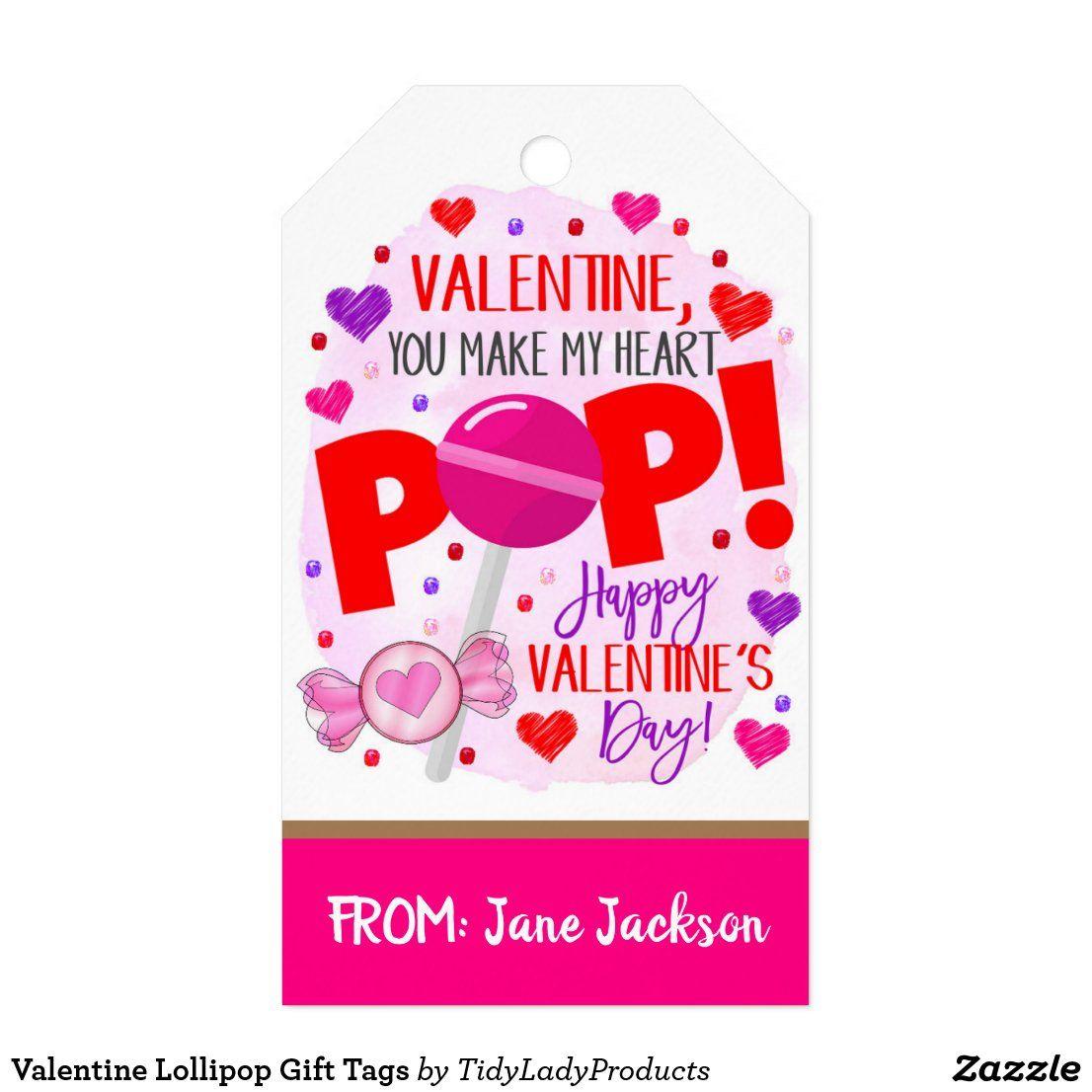 Valentine Lollipop Gift Tags