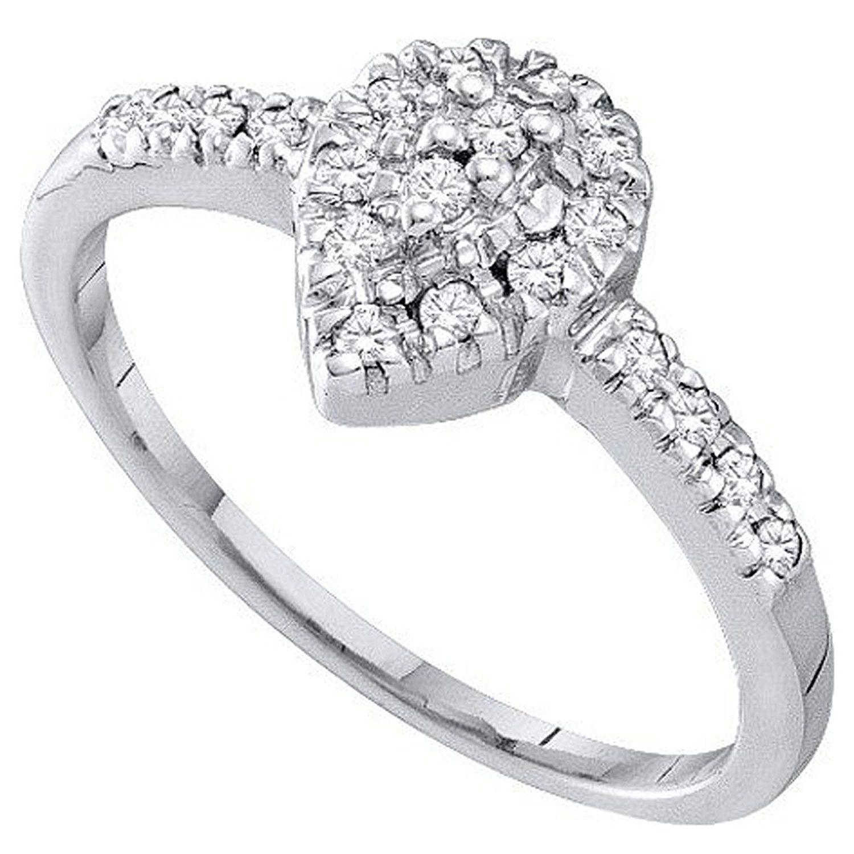 White Gold ctw 10K Round White Diamond Mens Cluster Wedding Band Dazzlingrock Collection 0.12 Carat