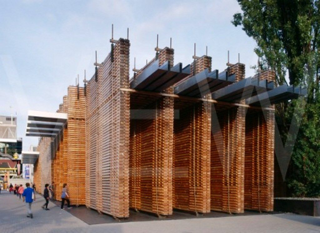 Swiss Pavilion, Hannover Expo (2002) ピーターズントー, 構造, 木