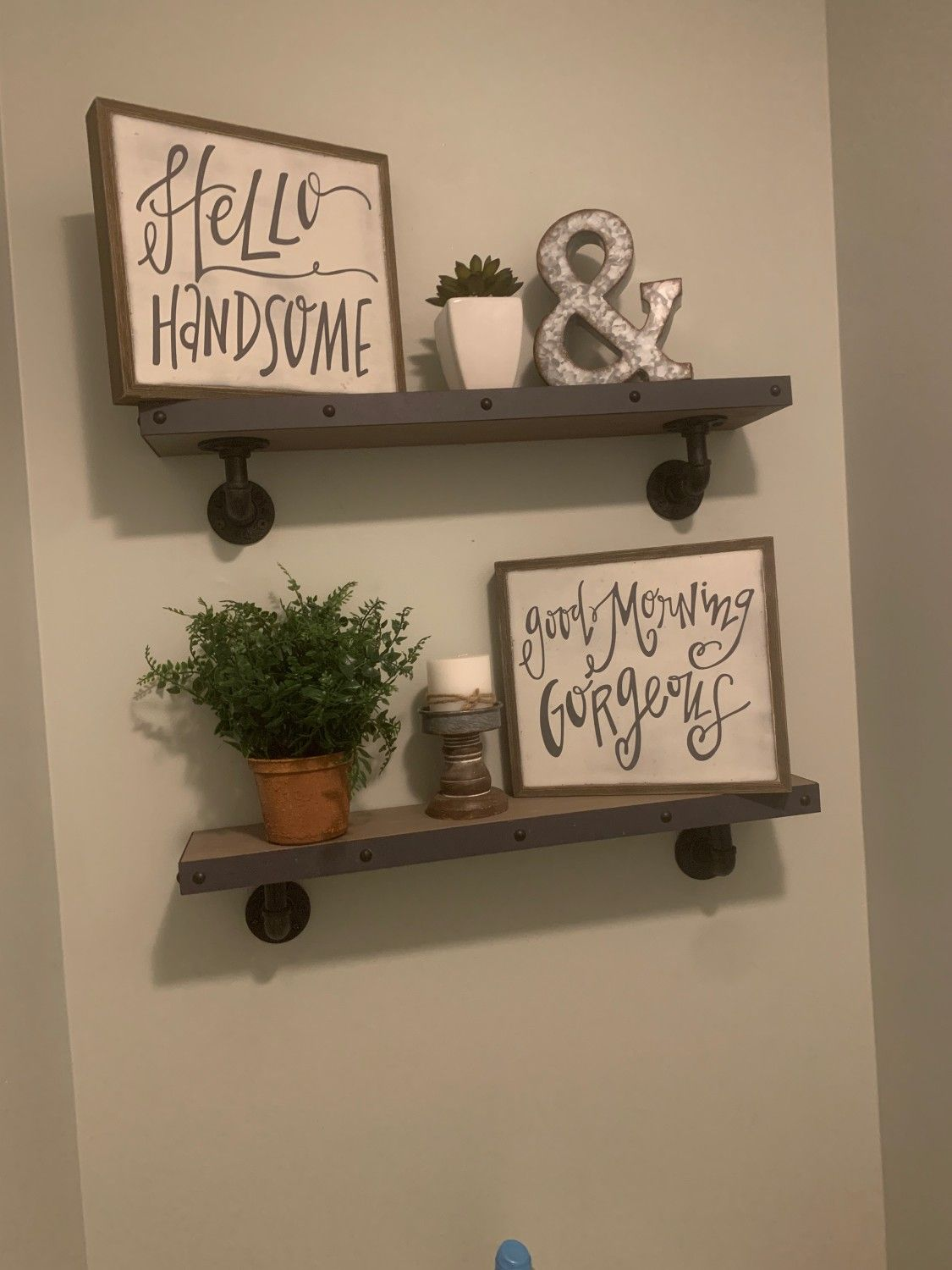 Rustic/Farmhouse Redo.Our tiny half bath needed revamping
