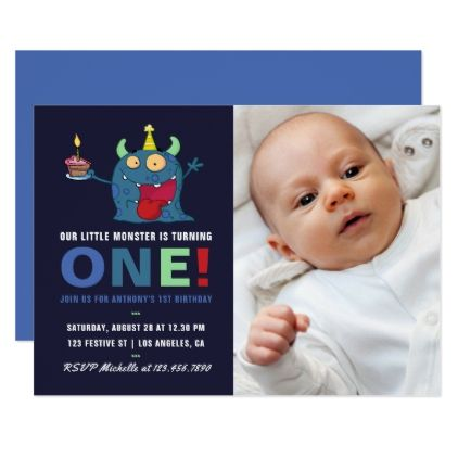 1st birthday baby boy little monster invitation 1st birthday baby boy add photo party invitation birthday cards invitations party diy personalize customize stopboris Image collections