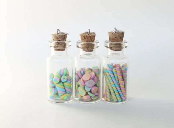 Miniature Glass Bottles Charms, Candy Bottle Jewelry, Polymer Clay Jewelry, Charm Pendant for Necklace, Pastel Sweets Marshmallows Canes