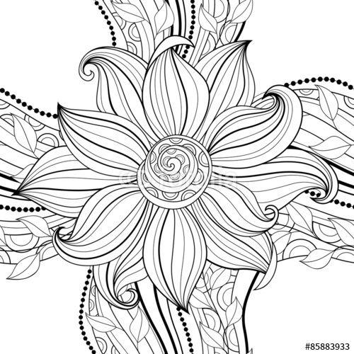 Vector: Vector Seamless Monochrome Floral Pattern | Mandalas ...