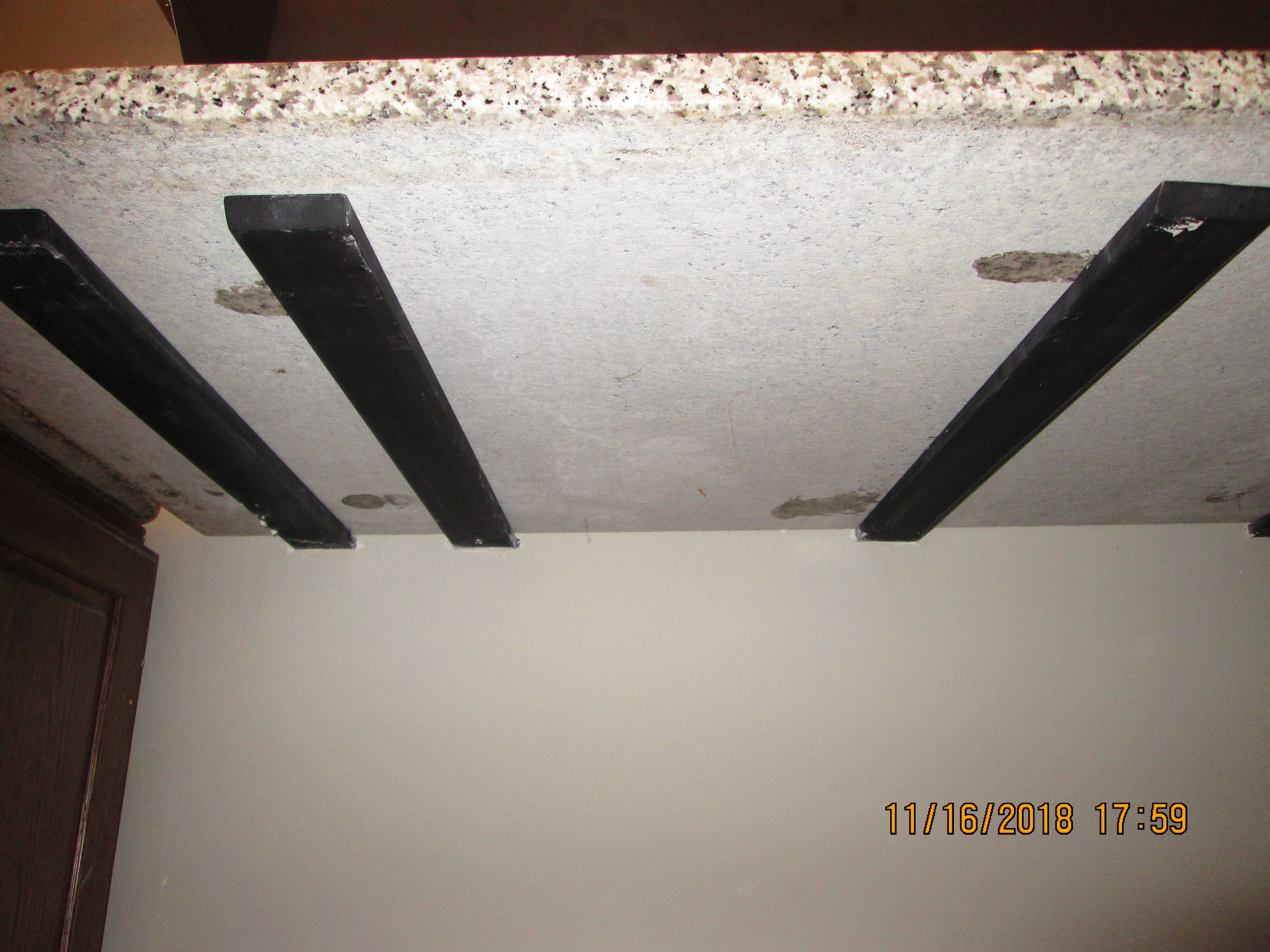 You Can See The Heavy Steel Supports Under The Granite Countertop The Rest Of The Support Is Screwed Onto The S Stud Walls Wall Shelf Brackets Granite Bracket