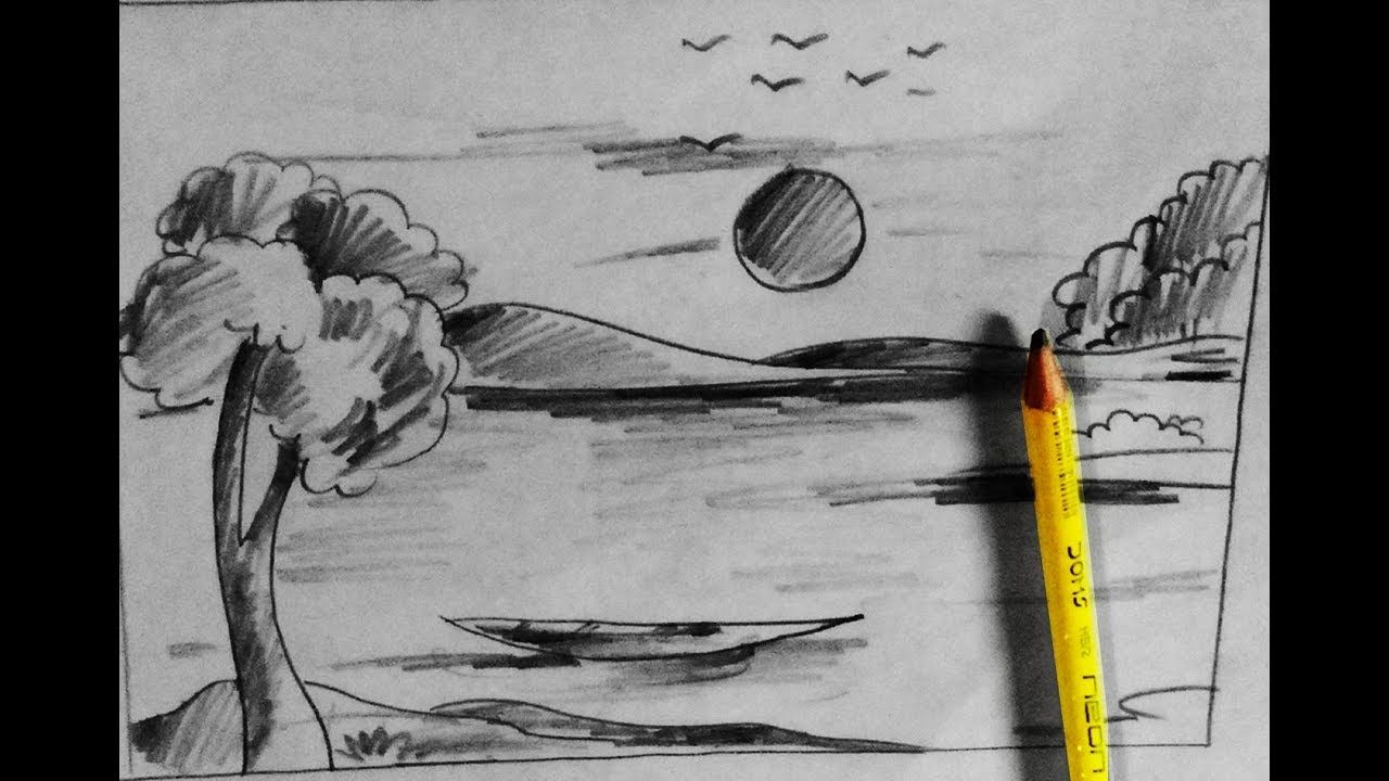 How To Draw Village Nature Scenery With Pencil Step By Step Very Easy D Pencil Drawings Pencil Drawing Images Drawing Images