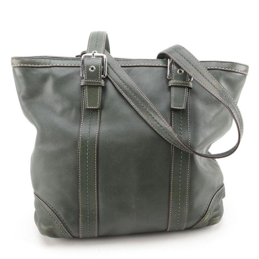 e0121a3e144 Coach Green Leather Tote Bag   EBTH