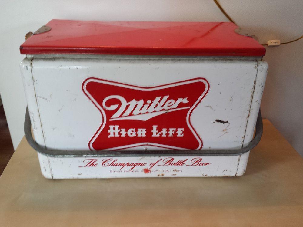 dcaddde3235f Vintage Antique Miller High Life metal beer cooler