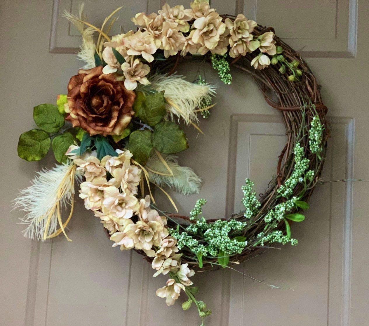 Brown And Beige Wreath Modern Wreath Wreath For Front Door