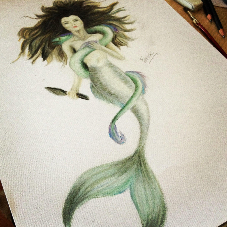 Mermaid Drawing With Derwent Pastel Pencils. #mermaid