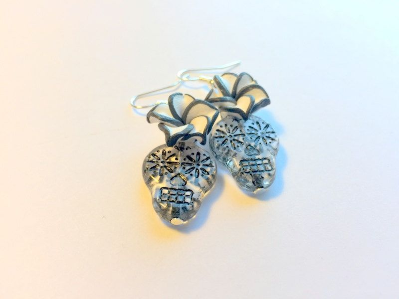 Sugar Skull Earrings Day of the Dead Clear Czech Glass and Black White Plumeria by PennysLane on Etsy