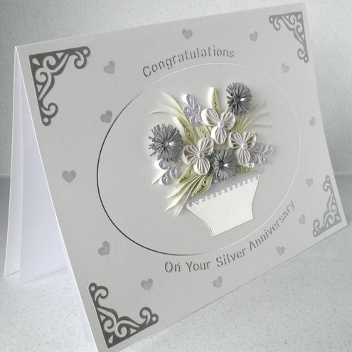 Quilled 25th anniversary card, silver wedding c... - Folksy