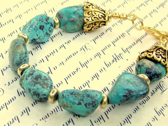 Turquoise Nugget Bracelet Bohemian Jewelry by EponasCrystals