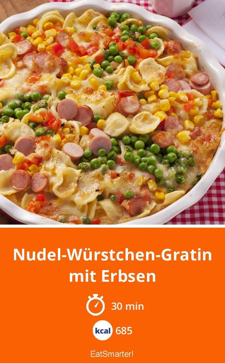 Nudel-Würstchen-Gratin mit Erbsen
