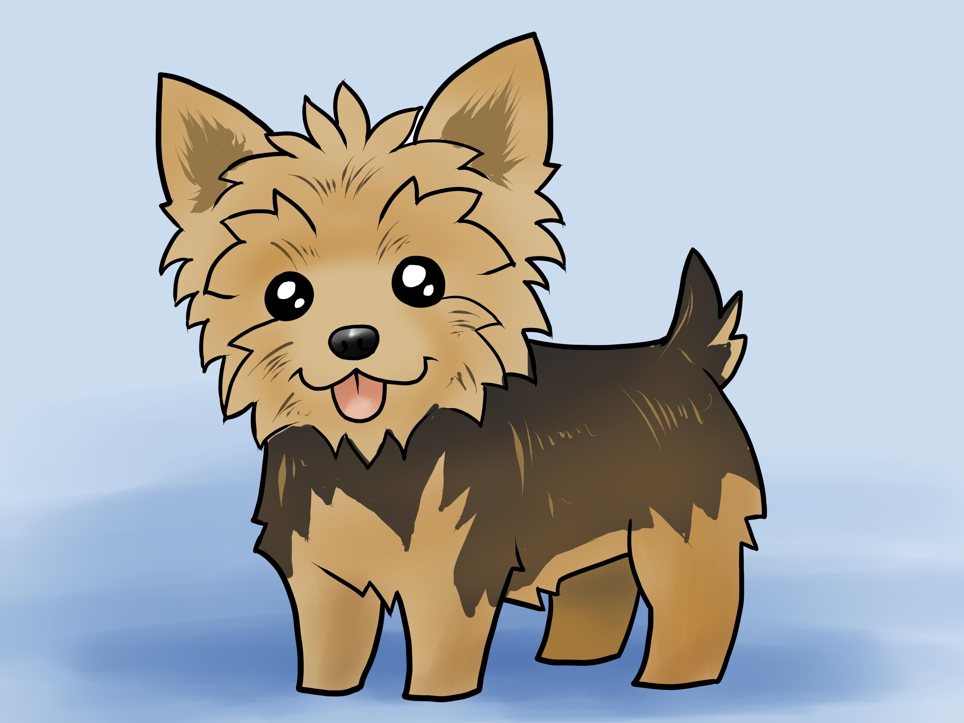 Learn Two Ways On How To Draw A Yorkie One Of The Popular Breed Of Dogs You Can Do This By Following These Sim Cute Dog Drawing Yorkie Painting Puppy Drawing