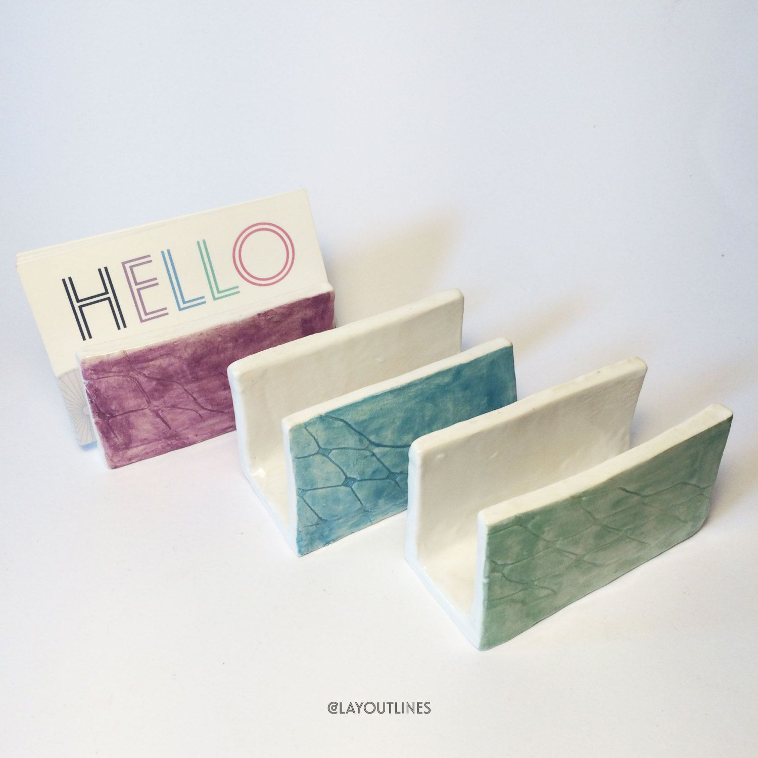 Ceramic Business Card Holders, pattern with colour by Sonia Nicolson ...