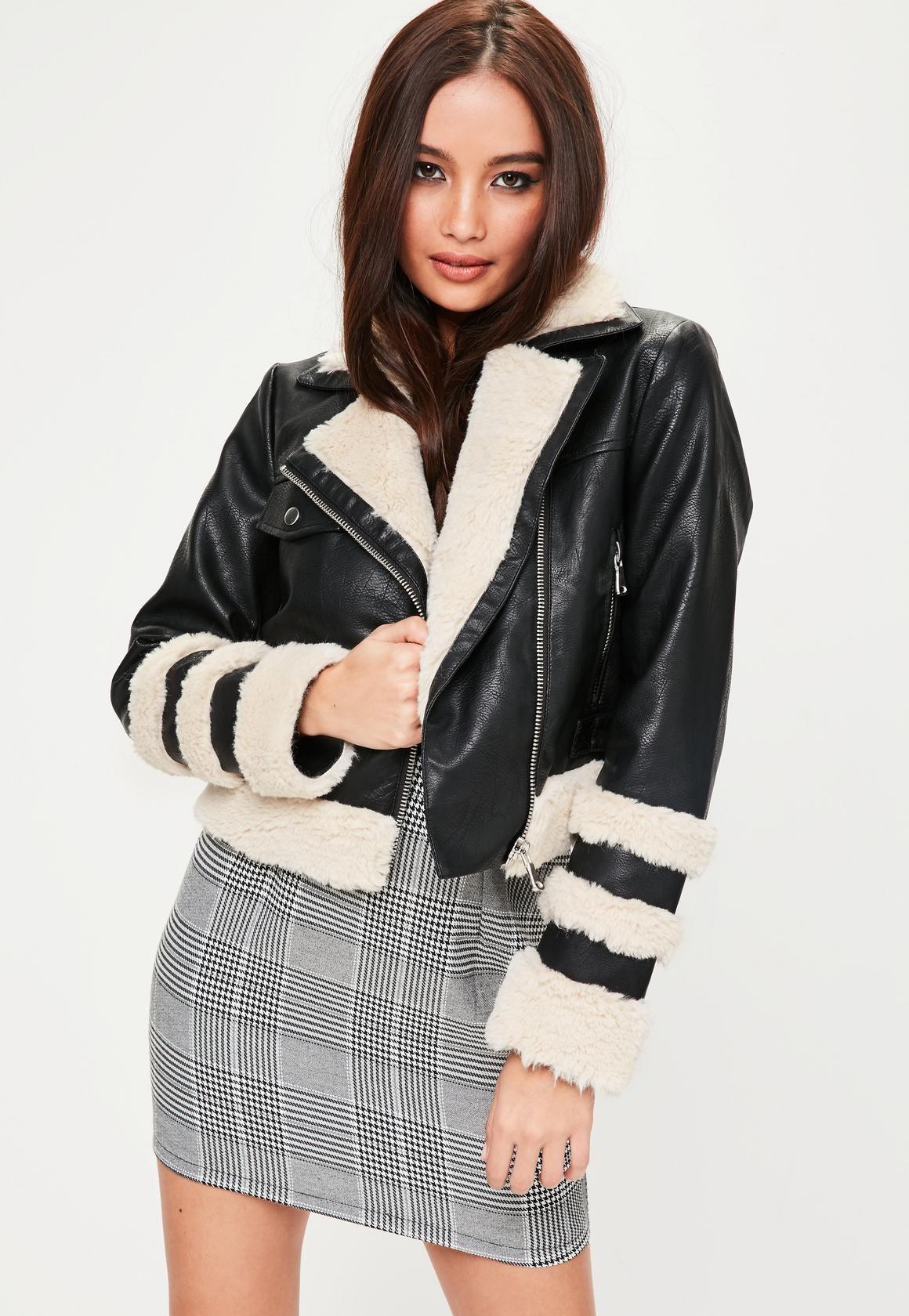 8797c3096 Missguided - Black Faux Fur Trim Biker Jacket