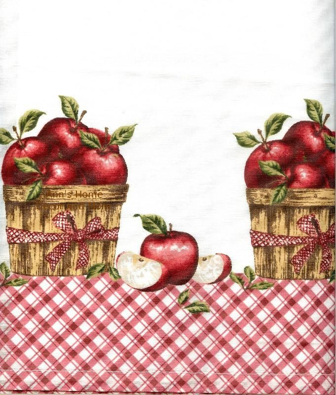 Beau Anns Home Decor And More   Apple Picking 36L Tier Valance Set Kitchen  Curtains