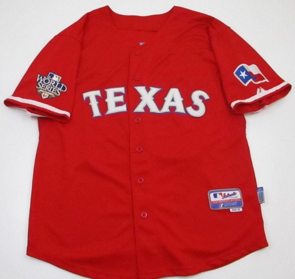 best loved c517f 5be57 TEXAS RANGERS MLB Jersey 50 red Majestic Sewn Josh hamilton ...