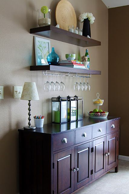 Have Rusty DIY His Pottery Barn Shelves And Hang Wine Glasses Over Buffet In Dining Room
