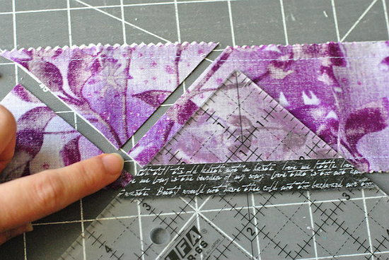 Make Half-Square Triangles from Strips of Fabric