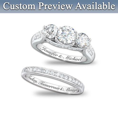 Diamonesk Personalized Engraved Engagement Ring And Wedding Band Set