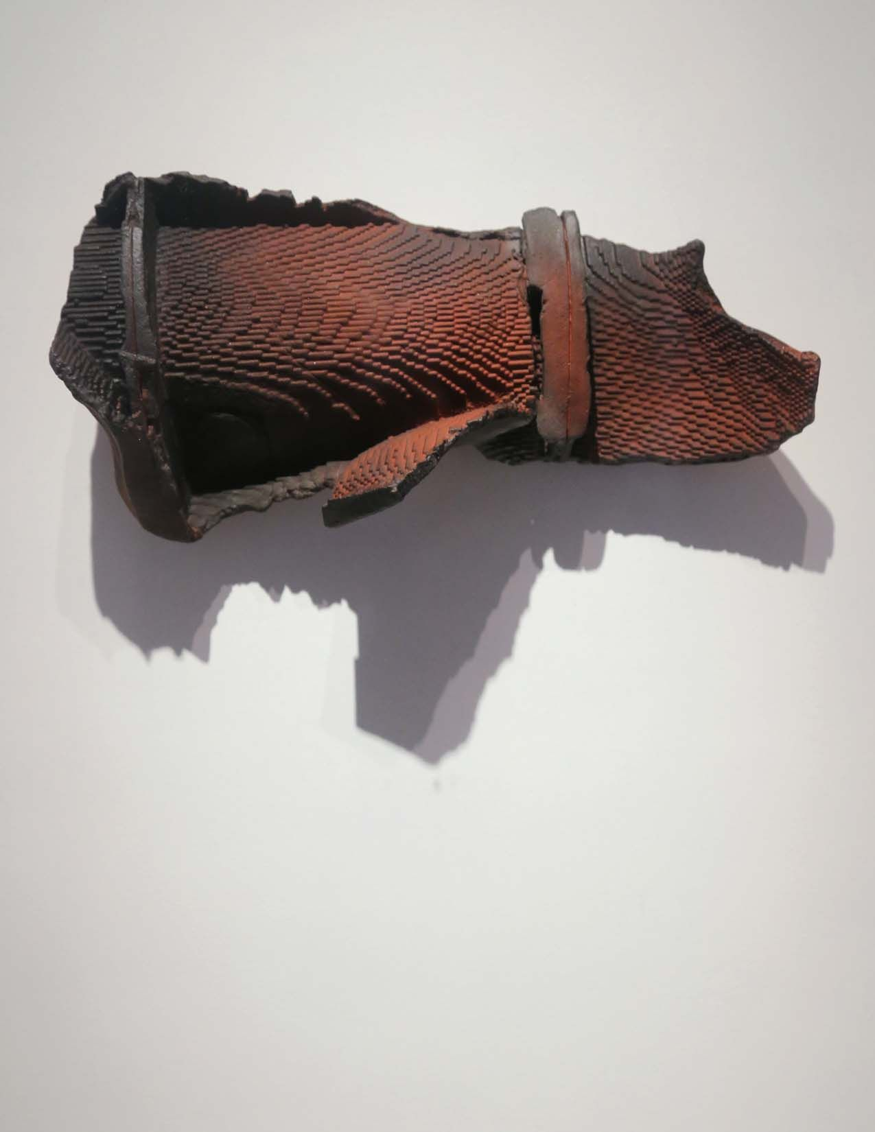 Alwar Balasubramaniam, Fragmented Conversation (detail), Plaster of paris, watercolor, soot & pigment, 2015