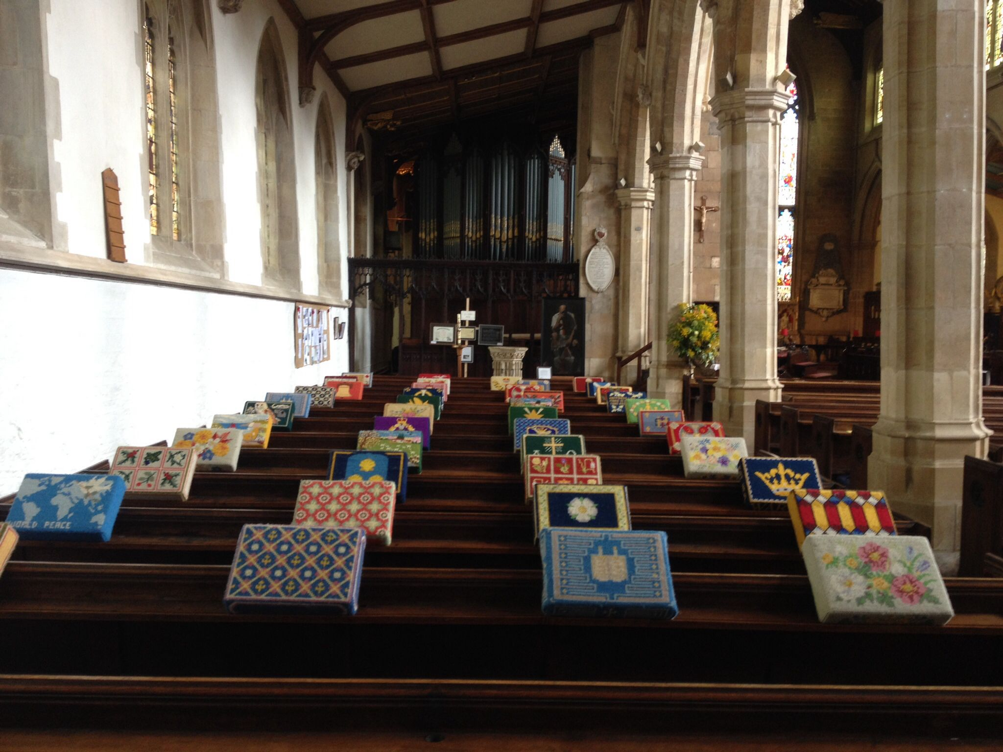 Kneelers in St James' Church, Louth, Lincolnshire