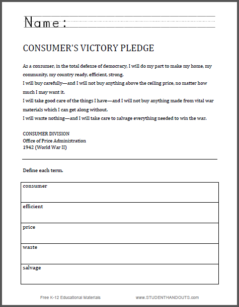 Consumers Victory Pledge World War Ii Worksheet Free To Print