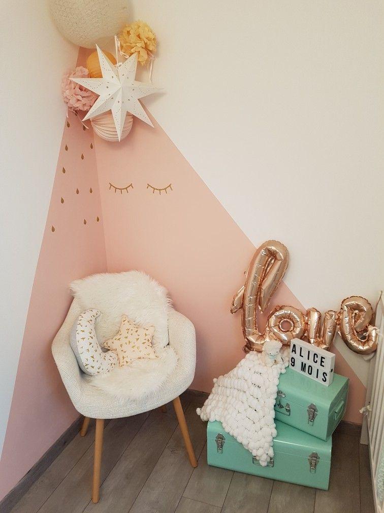 Chambre Bebe Pastel Mint Rose Pompons Triangle De Peinture Chambre