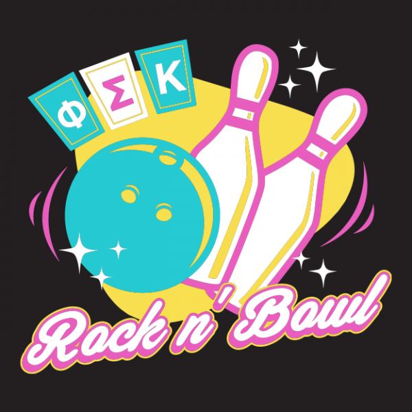 Rock N Bowl T Shirts Phi Sigma Kappa Greek House Datenight Dateparty Grab A Date Philanthropy Retro Neon Greek House Fraternity Apparel Fraternity