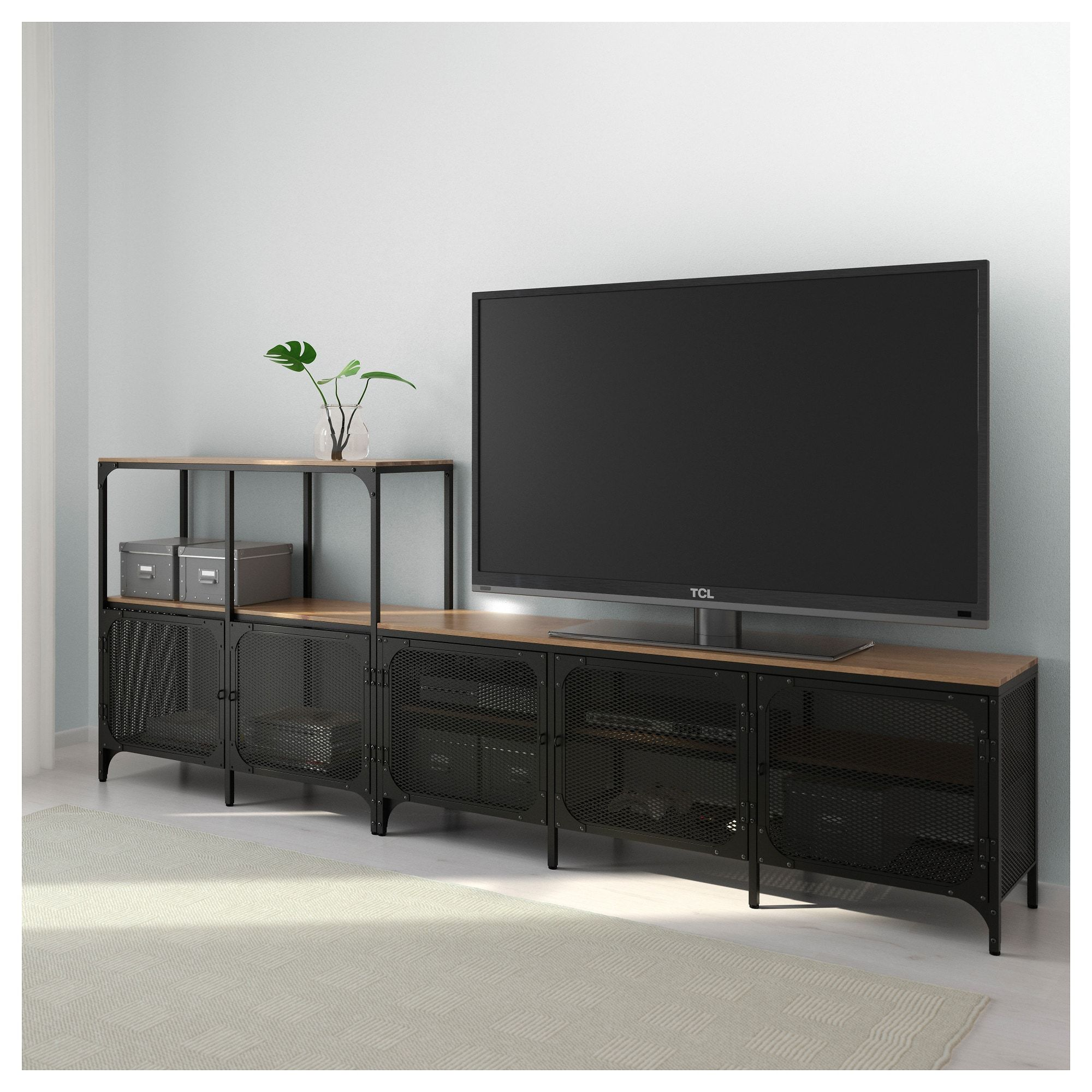 Fjallbo Black Tv Storage Combination 250x36x95 Cm Ikea In 2021 Tv Storage Ikea Tv Tv Bench [ 2000 x 2000 Pixel ]