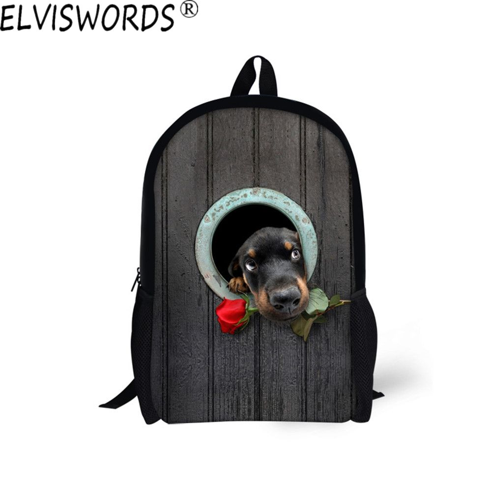 890033ec00 ELVISWORDS 2017 New Style School Bags Teenager Boy Schoolbag Funny Dog Bite  Rose Printed Bookbag Comfortable