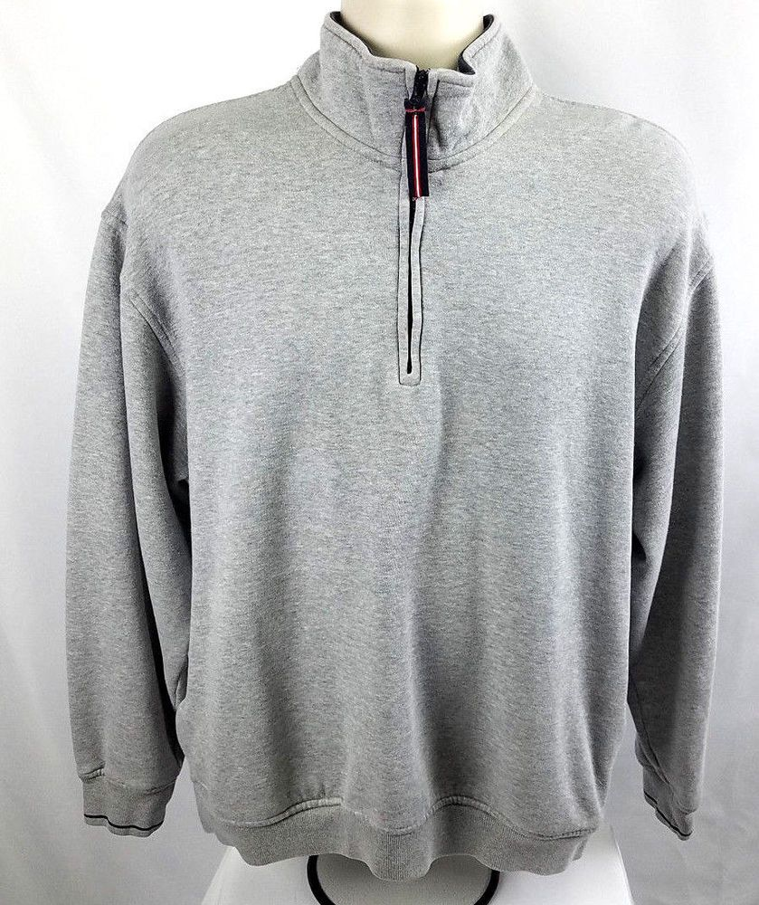 Tommy hilfiger golf mens l zip pullover euc gray