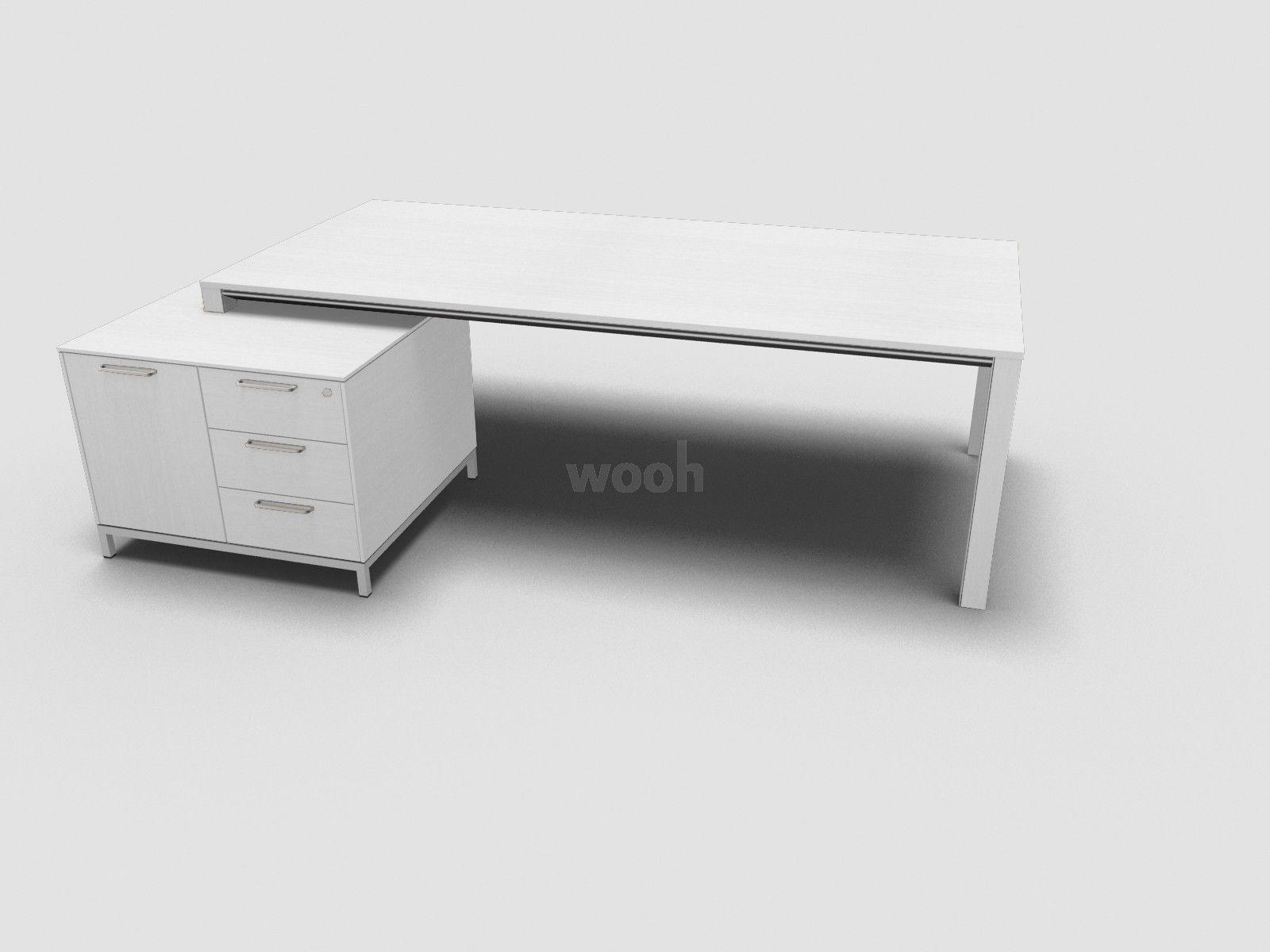 Bureau essential pieds chêne teinté blanc caisson uc gauche
