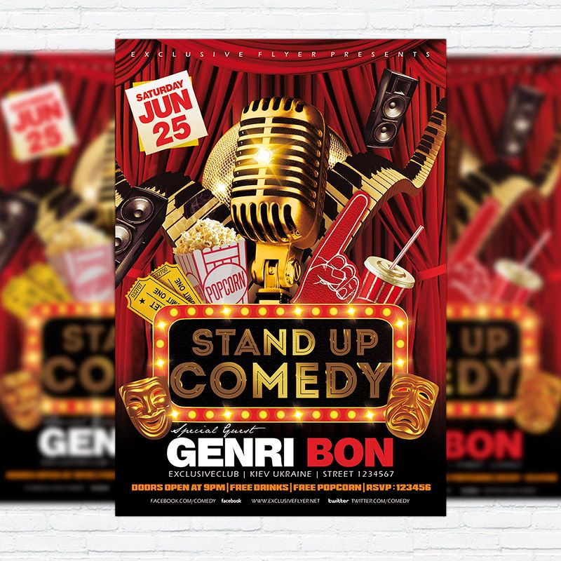 Stand Up Comedy Vol  Premium Flyer Template  Facebook Cover