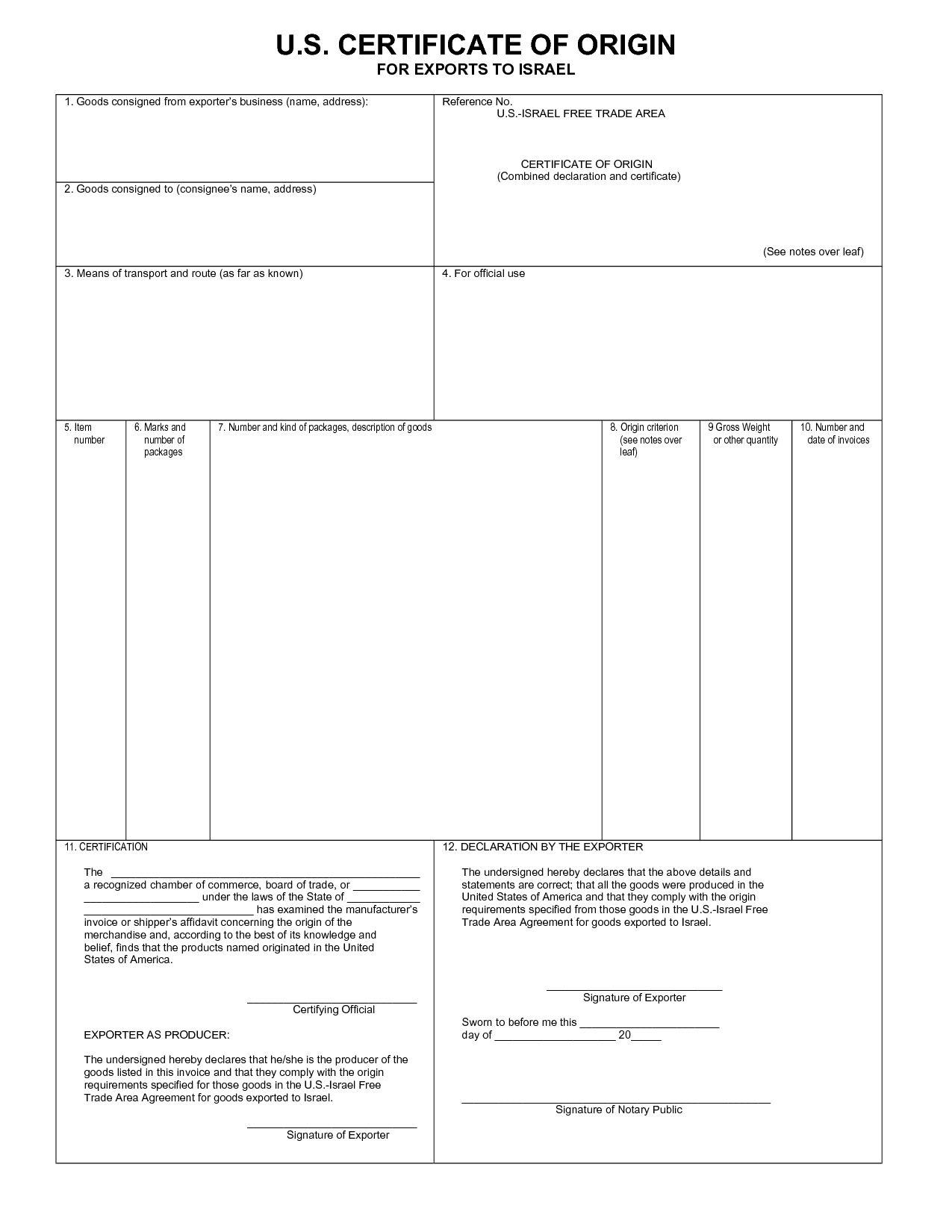 Blank Certificate Of Origin Template from i.pinimg.com