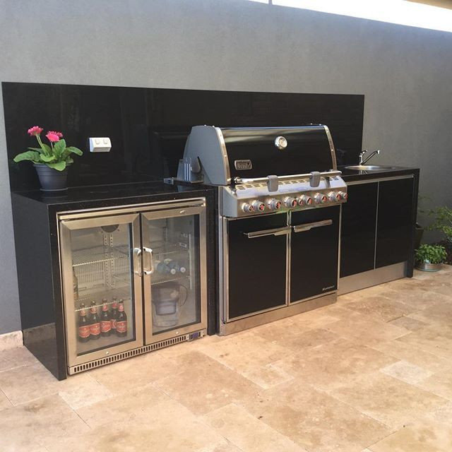 Another Fabulous Alfresco Outdoor Kitchen Featuring The Weber Summit Barbecue Installed By The Outdoor Chef Outdoorkit Outdoor Kitchen Outdoor Fridge Alfresco