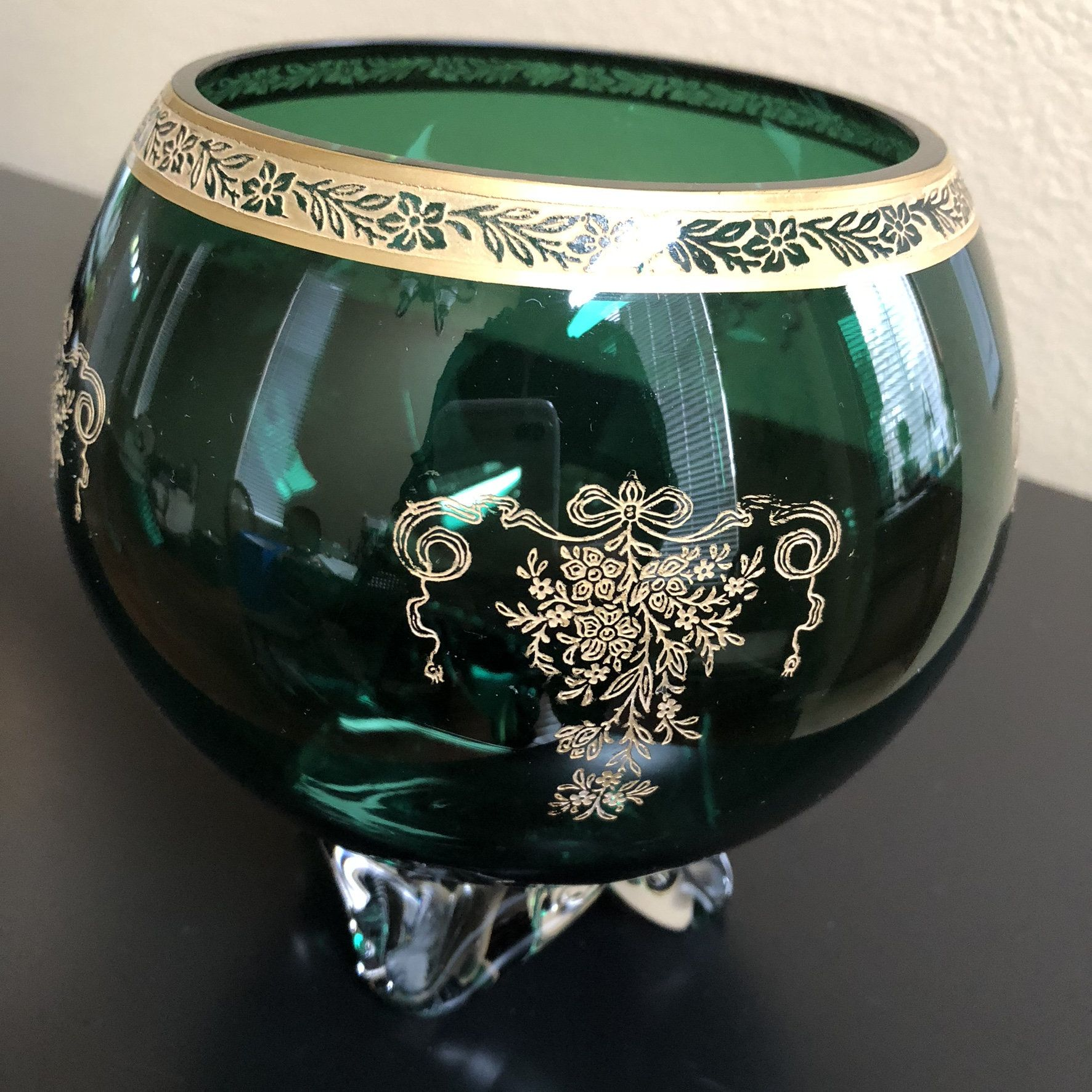 Large Decorative Green Glass Bowl With Gold Floral Design Etsy Green Glass Bowls Glass Bowl Centerpiece Bowl Large glass decorative bowl