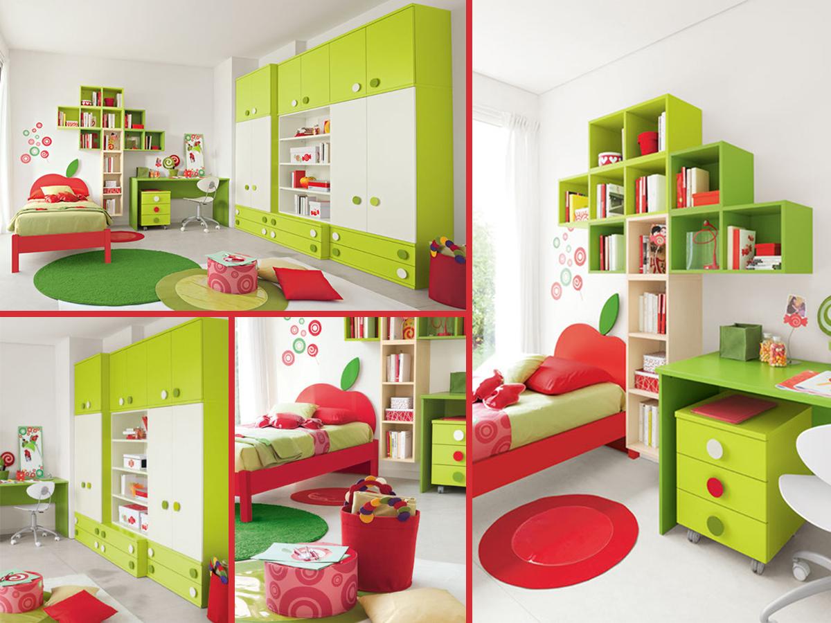 Cameretta biancaneve cameretta singola in finitura bianca rossa e due tonalit di verde - Testiera letto libreria ...